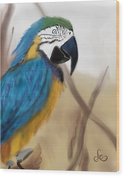 Wood Print featuring the digital art Blue Parrot by Fe Jones