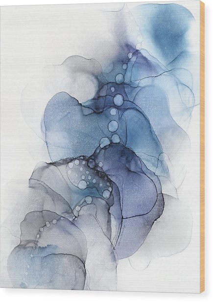 Blue Petal Dots Whispy Abstract Painting Wood Print