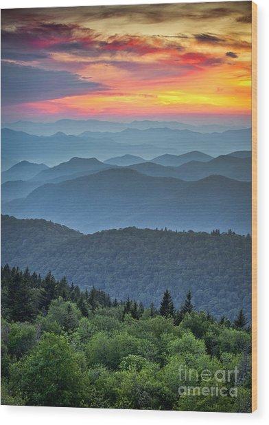 Blue Ridge Parkway Scenic Landscape Wood Print