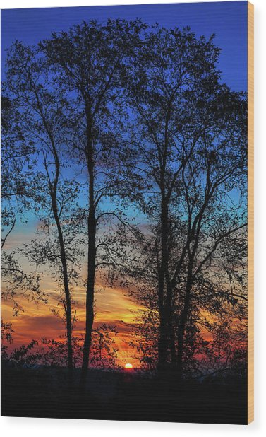 Blue Ridge Sunrise The Sun Emerges Wood Print by Dan Carmichael