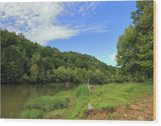 Wood Print featuring the photograph Blue Sky At Cumberland River by Angela Murdock