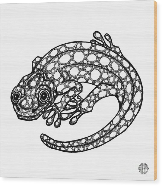 Blue Spotted Salamander Wood Print