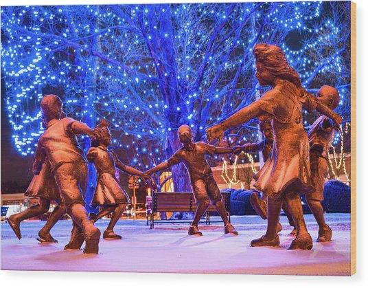 Blue Tree Play Wood Print