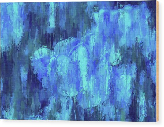 Blue Tulips On A Rainy Day Wood Print