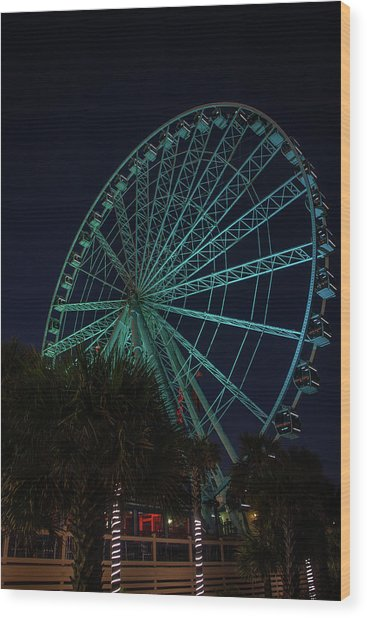 Blue Wheel Wood Print
