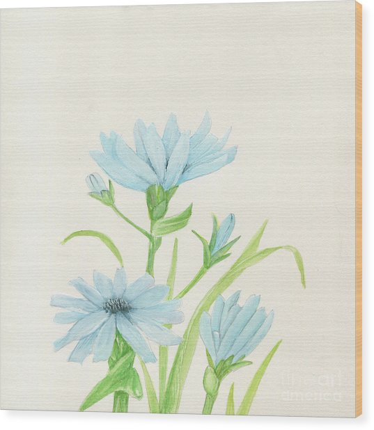 Blue Wildflowers Watercolor Wood Print