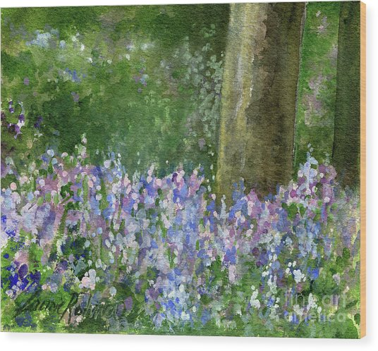 Bluebells Under The Trees Wood Print