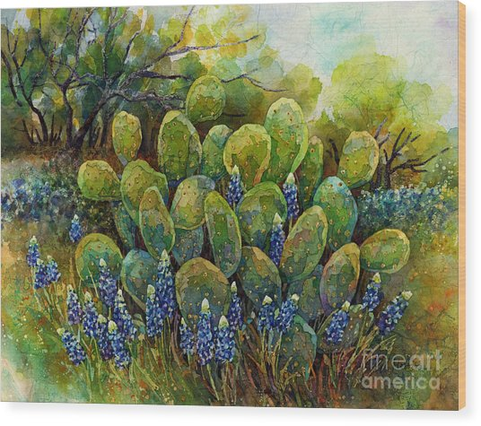 Bluebonnets And Cactus 2 Wood Print