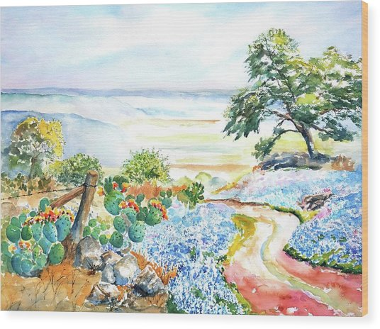 Bluebonnets - Texas Hill Country In Spring Wood Print