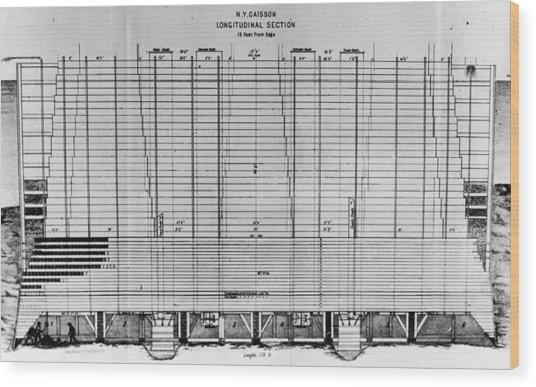 Blueprint Of Brooklyn Bridge Wood Print by Fotosearch