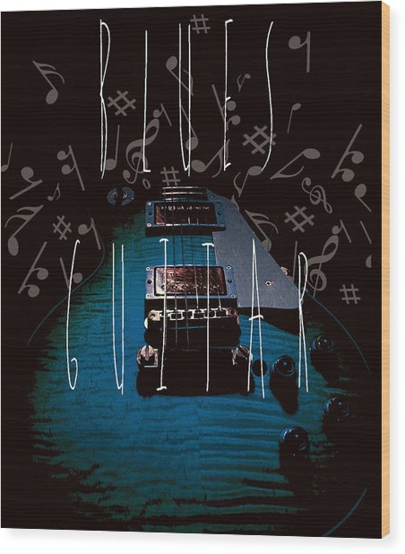 Blues Guitar Music Notes Wood Print