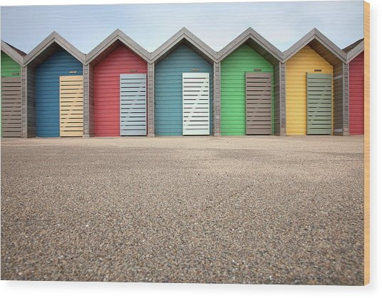 Blyth Beach Huts Wood Print by Billy Currie Photography