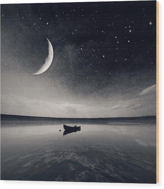 Boat On Lake At Night Wood Print by Mateusz Sawicki / Eyeem