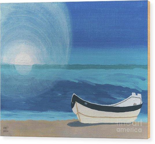 Boat On The Beach Wood Print