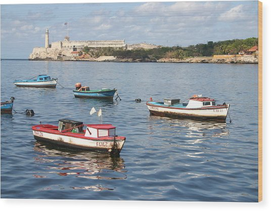 Boats In The Harbor Havana Cuba 112605 Wood Print