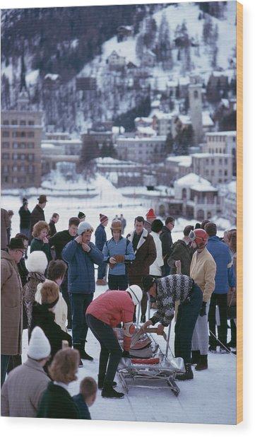Bobsledding In St. Moritz Wood Print by Slim Aarons