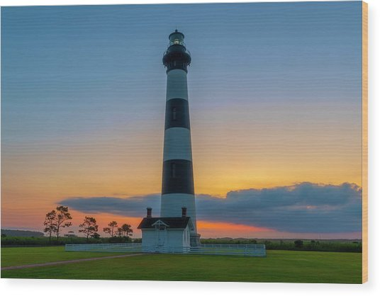 Wood Print featuring the photograph Bodie Island Lighthouse, Hatteras, Outer Bank by Cindy Lark Hartman
