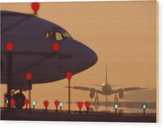 Boeing 727 Nose In Silhouette At Wood Print by Nick Gunderson