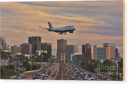 Boeing 747 Landing In San Diego Wood Print