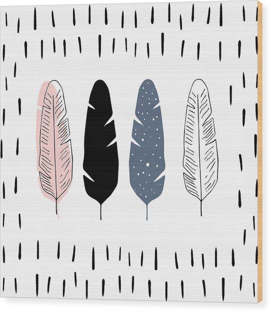 Boho Feathers - Boho Chic Ethnic Nursery Art Poster Print Wood Print