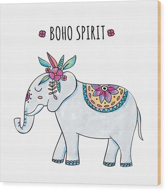 Boho Spirit Elephant - Boho Chic Ethnic Nursery Art Poster Print Wood Print