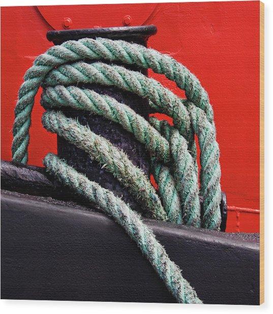 Bollard On A Bright Red Boat Wood Print