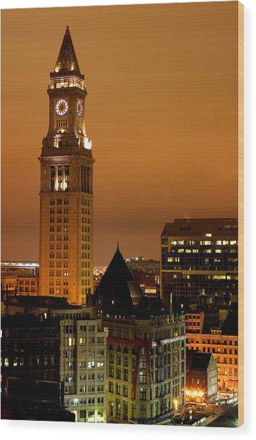 Boston Clock Tower - Custom House Wood Print by Jsmith
