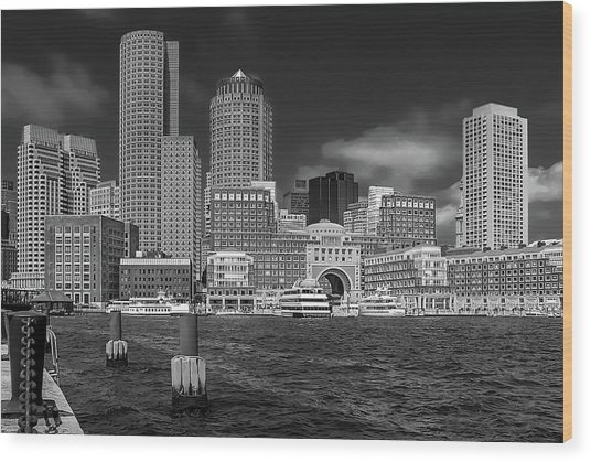 Boston Harbor Skyline Wood Print