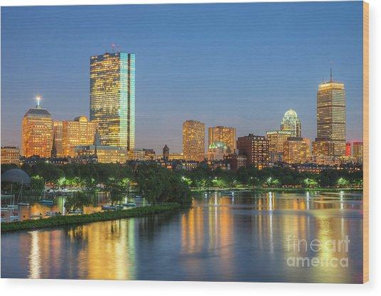 Boston Night Skyline II Wood Print