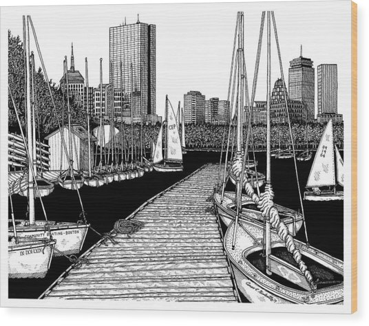 Boston's Community Boating Wood Print