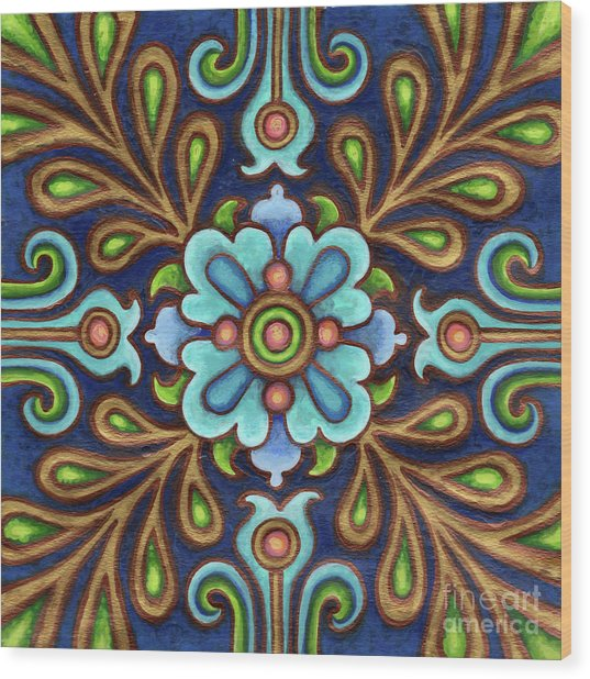 Botanical Mandala 9 Wood Print
