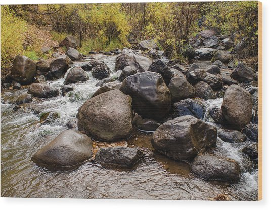 Boulders In Creek Wood Print