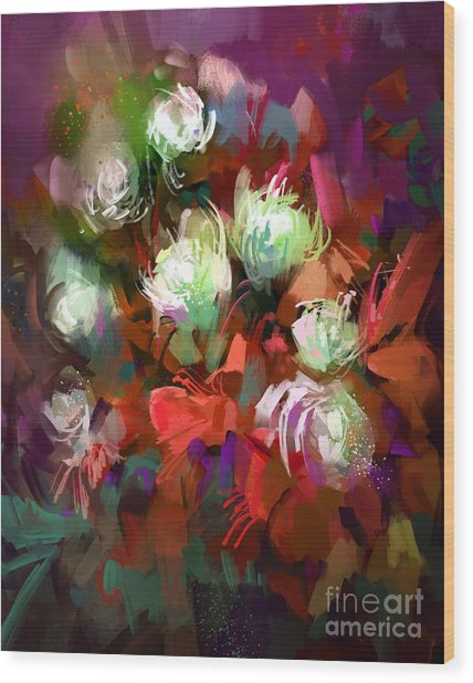 Bouquet Of Colorful Flowers,digital Wood Print