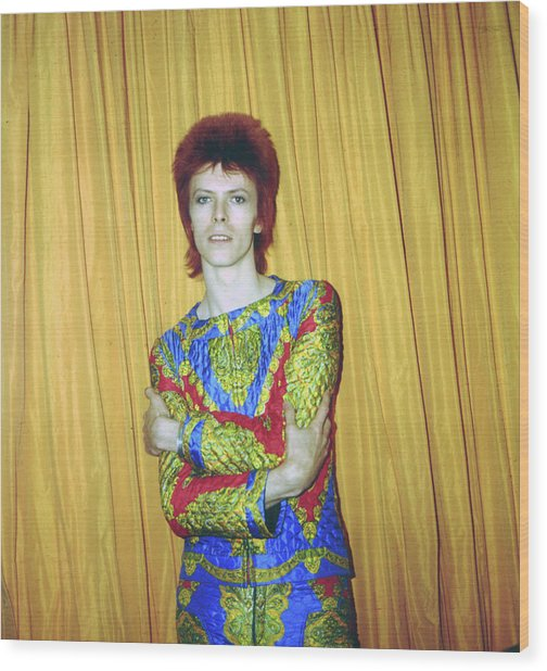 Bowie As Ziggy Stardust In Ny Wood Print