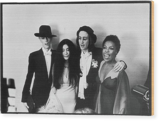 Bowie, Ono, Lennon, & Flack At The Wood Print by Fred W. McDarrah