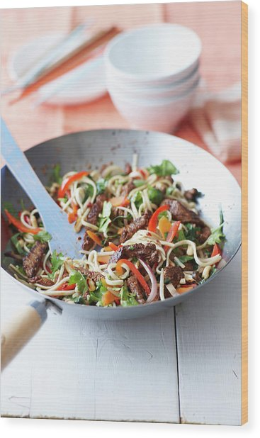Bowl Of Chili And Beef Noodles Wood Print