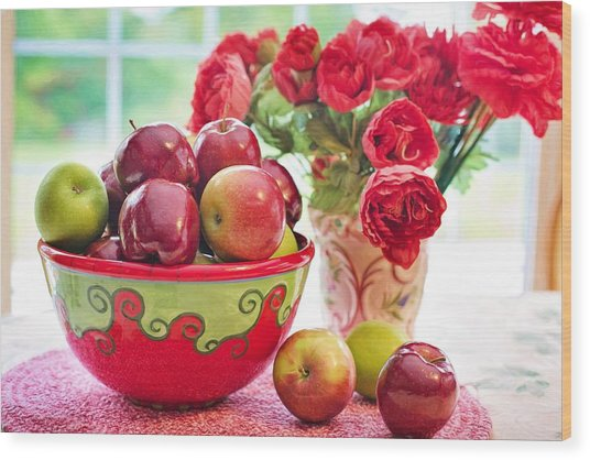 Bowl Of Red Apples Wood Print
