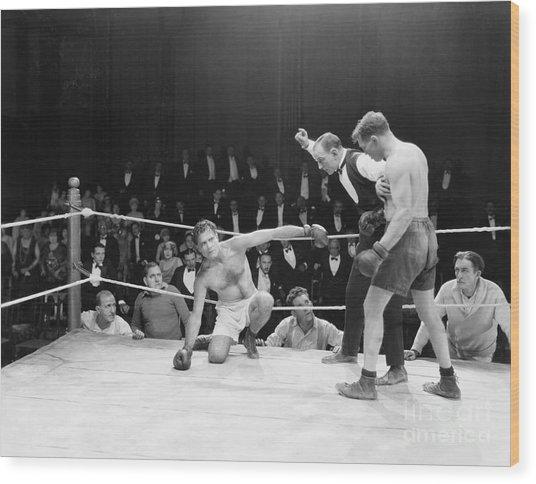 Boxing Match Wood Print