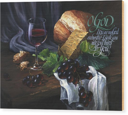 Wood Print featuring the painting Bread And Wine by Clint Hansen