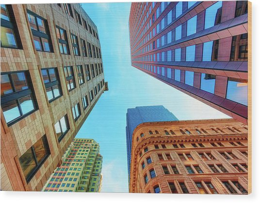 Brick And Mortar Skyward Wood Print