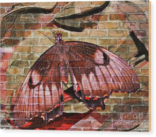 Wood Print featuring the mixed media Brick In The Wall by Sabine ShintaraRose