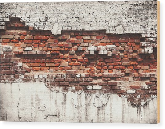 Brick Wall Falling Apart Wood Print by Ty Alexander Photography