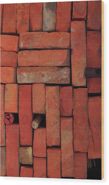 Wood Print featuring the photograph Bricks by Attila Meszlenyi