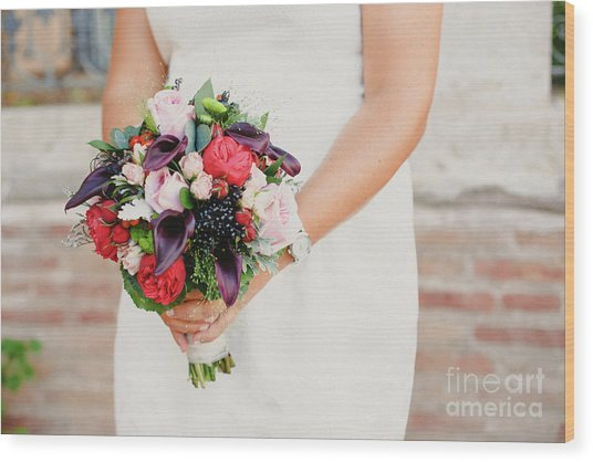 Bridal Bouquet Held By Her With Her Hands At Her Wedding Wood Print