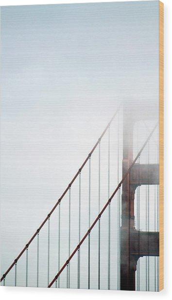 Bridge In Fog Wood Print by By Ken Ilio