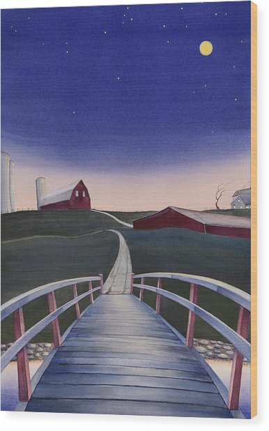 Wood Print featuring the painting Bridge Over Buck Creek II by Scott Kirby