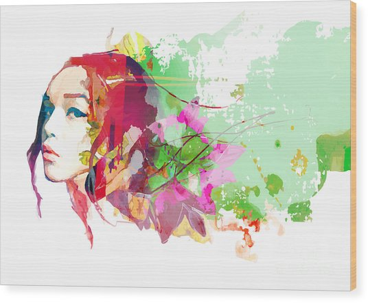 Bright Color Composition With Female Wood Print