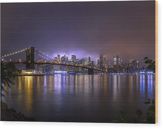 Bright Lights Of New York II Wood Print