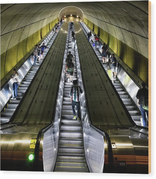 Bright Lights, Tall Escalators Wood Print