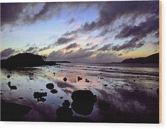 Bright Mirror Of Sunset Light Wood Print